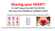 Sharing from the HEART - Not About SAY YES OFFER